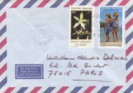 """POLYNESIE 34f """"VANILLE"""" + 12f """"LE PAREO"""" Obl ARUE ILE DE TAHITI Sur Lettre Pour La France - French Polynesia"""