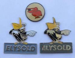 Lot De 3 Pin's PELICAN -  Elysold - Pélican Rouge - B1117 - Animaux