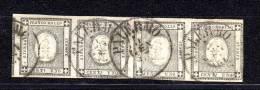 ITALIA REGNO 1863 1 CENT. STRISCIA DI 4 CAT 280 €  (r. 8040) - 1861-78 Vittorio Emanuele II