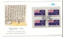 FDC Flag New Zealand - United Nations Cover Block Of 4 Stamps - Covers