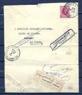 Nr 202 Op Briefstukje Van Veurne-Furnes Naar La Panne - Onbestelbaar Rebut  12/10/1926 (GA5494) - 1922-1927 Houyoux