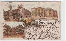 Romania Litho Bucuresti Palatul Regal Biserica Stavropoleos Si Heliade Radulescu 1898 - Roumanie