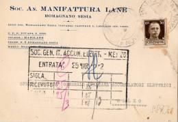 RARA-CARTOLINA POSTALE PUBBLICITARIA--SOC. N. MANIFATTURA LANE-ROMAGNANO SESIA-NOVARA-23-3-1942 - 1900-44 Vittorio Emanuele III