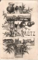 CPA 57 (Moselle) - Souvenir De Metz, Multivues - Chardon Et Croix De Lorraine 1908 - Metz