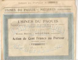 USINES DU PAQUIS MEZIERES (CHARLEVILLE) ACTION DE 100 FRANCS AU PORTEUR MARS 1921 ARDENNES 08 - Shareholdings