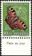 "Suisse PJ 1955: Yvert-No.568 ** MNH Avec Tab *Paon Du Jour""  (SBK CHF 4.00) - Vlinders"