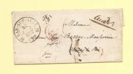 Bar Sur Aube - 9 - Aube - 25 Janvier 1837 - Reexpeditions Au Dos - Voir Scann - Sans Correspondance - Marcophilie (Lettres)