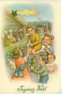 CPA Joyeux Noël  Jeunes Enfants Reconstituant La Crèche  Puisatière Puits à Margelle TBE - Natale