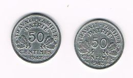 I  FRANKRIJK  2 X 50 CENTIMES  1942/43  VICHY - G. 50 Céntimos