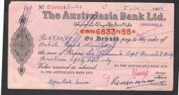 PAY ORDER OF AUSTRALASIA BANK JARANWALA PAKISTAN 1964 - Bank & Insurance