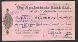 PAY ORDER OF AUSTRALASIA BANK MULTAN PAKISTAN 1966 - Bank & Insurance