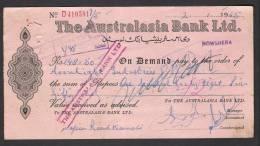 PAY ORDER OF AUSTRALASIA BANK NOWSHERA PAKISTAN 1965 - Bank & Insurance