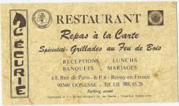 """GONNESSE (95)  - Carte Commerciale De """" L'ECURIE """" Restaurant, 68 Rue De Paris - Gonesse"""
