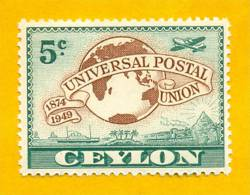 Sri Lanka Stamps, Ceylon Stamps 1949, Universal Postal Union, MNH - Sri Lanka (Ceylon) (1948-...)