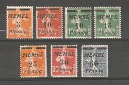 Memel 1922 ,Sc 50-53 ,56,57,59 ,MLH