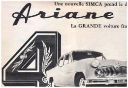 PUBLICITE   ARIANE    UNE NOUVELLE SIMCA   4 - Publicités