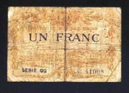 ALAIS ALES GARD 30 BON-BILLET-MONNAIE CHAMBRE DE COMMERCE - 1 FRANC N° 41068 SÉRIE GG. VENDU EN L'ETAT 2 SCANS  Serbon63 - Chambre De Commerce