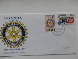 30/987      FDC  UGANDA - Rotary, Lions Club