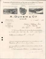 A.DUHEM & Cie , TISSAGE DE TOILES DE LIN A LILLE  / FACTURE DATEE 1933 - 1900 – 1949