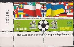2012 Albanien  Albania Mi. 3394-5 **MNH  The European Football Championship Poland - Ukraine 2012 - Albania
