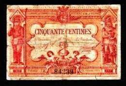 BON-BILLET-MONNAIE CHAMBRE DE COMMERCE DE POITIERS VIENNE 86 - 50 CENTIMES N°84239 SERIE J 2 VENDU EN L'ETAT 2 SCANS - Chambre De Commerce