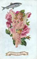 21177 Enfant Ange Poisson Découpis Rose . Relief ; Souvenir 1er Avril