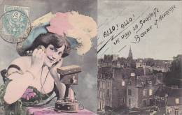 21182 Femme Telephone . Allo Allo ! Vers 1900; Imprimerie De Nancy ; Poitrine