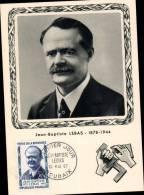 N°1104 SUR CARTE POSTALE / JEAN BAPTISTE LEBAS / 1er JOUR DATE DU 13.05.1957 / ROUBAIX - Cartes-Maximum