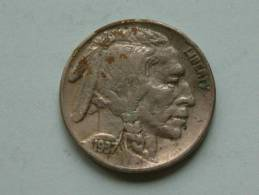 1937 - FIVE CENTS / KM 134 ( Uncleaned Coin / For Grade, Please See Photo ) !! - Federal Issues