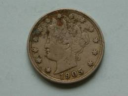 1905 - LIBERTY FIVE CENTS / KM 112 ( Uncleaned Coin / For Grade, Please See Photo ) !! - Émissions Fédérales