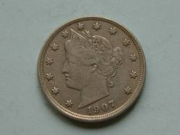 1907 - LIBERTY FIVE CENTS / KM 112 ( Uncleaned Coin / For Grade, Please See Photo ) !! - Émissions Fédérales