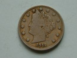 1911 - LIBERTY FIVE CENTS / KM 112 ( Uncleaned Coin / For Grade, Please See Photo ) !! - Federal Issues