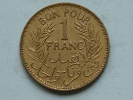 1945 - 1 FRANC / KM 247 ( For Grade, Please See Photo ) ! - Tunisie