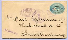 Ganzsache Guatemala 2 Centavos Aufdruck 1895 Nach Deutschland Charlottenburg  (262) - Guatemala