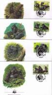 WWF 1985 Ruanda/Rwanda Berggorilla/Mountain Gorilla Set Of 4 FDC - FDC