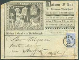 N°60 - 25 Centimes Bleu, Obl. Sc GAND S/Enveloppe Illustrée (Maison Saint-Luc Bressers-Blanckaert, Ateliers à Malterbrug - 1893-1900 Fine Barbe
