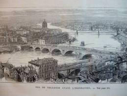 Vue De Toulouse Avant L'innondation , Gravure De 1875 - Documents Historiques
