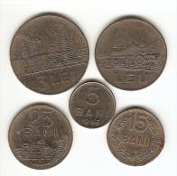 5 COINS ROMANIA:5 BANI 1966;15 BANI 1966;25 BANI 1966; 1 LEU 1966:3 LEI 1966 - Romania