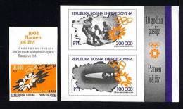 BOSNIE HERZEGOVINE MUSULMANE 1994, 10e Anniversaire J.O. SARAJEVO, 1 Valeur Et 1 Bloc, Neufs. R443 - Bosnia And Herzegovina
