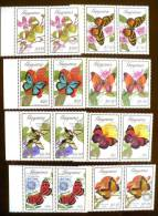 GUYANA Papillons, Butterflies (yvert 2168/75) VARIETE  SURCHARGE ROTARY ARGENT TENANT A NON SURCHARGE **. MNH (3 Scans) - Butterflies