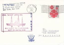 """Marine Schiffspost Der US Navy, USS """"Wasp"""" CVS-18, Stempel Auf Berlin Stamp: USS Wasp 1.OKT 1968, Besuch In Hamburg - Maritiem"""