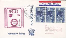 "Marine Schiffspost  US Navy Recovery Force, USS ""Ticonderoga CVS ?1"" 27.APR 1972, APOLLO 16 - Maritiem"