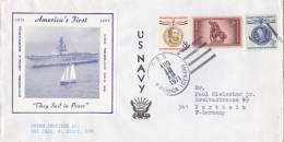 """Marine Schiffspost Der US Navy, USS """"America"""" CVA 66, Stempel Auf US Stamps: USS America 12.AUG 1971, Mit Yacht America - Maritiem"""
