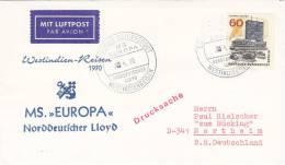 """Dt. Schiffspost MS """"Europa"""" Westindienreisen 2?.4.1970 Luftpost - Maritime"""