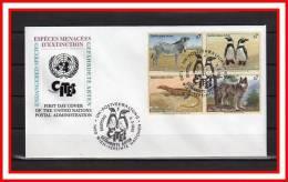 """Sous La Faciale : ONU (Vienne) 1993 FDC En Relief  """" ESPECES ANIMALES MENACEES """" N° YT 159 à 162 + Prix Dégressif ! - Briefmarken"""