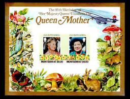 Montserrat Queen Mother Concorde Animals,flowers, Mushroom Imperforated Souvenir Sheet 1985 - Concorde