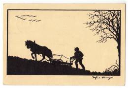 SILHOUETTE WORKING AT THE FIELD Nr. 171 OLD POSTCARD 1958. - Silhouette - Scissor-type