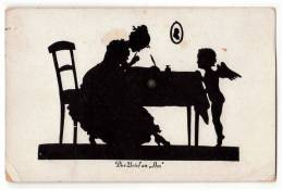 """SILHOUETTE """"THE LETTER TO HIM"""" AN ANGEL JAMMED CORNER OLD POSTCARD - Silhouettes"""