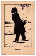 "SILHOUETTE ""BEETHOVEN"" WILLI BITHORN Nr. 1974 JAMMED CORNER OLD POSTCARD - Silhouette - Scissor-type"