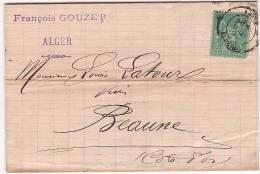 SAGE N° 75 Sur LAC D' ALGER à BEAUNE (21) - Août 1895 - Marcophilie (Lettres)